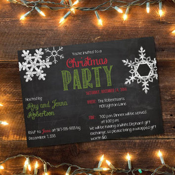 Printable Chalkboard Christmas Party invitation