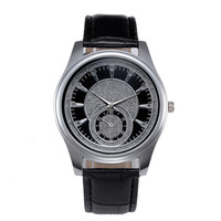 Leather Stainless Steel Quartz Watch