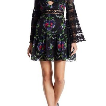 DCCKHB3 Anna Sui | Bird Garland Print Cutout Dress
