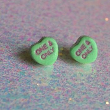 DCCKHD9 Preserved Conversation Heart Candy earrings grab bag