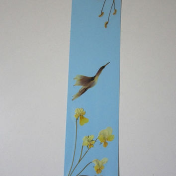 """Handmade unique bookmark """"Breath of Spring"""" - Decorated with dried pressed flowers and herbs - Original art collage."""