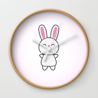 Cute Rabbit / Bunny Wall Clock by Badbugs_art