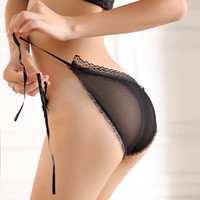 women's sexy panties transparent low waist lace strap briefs breathable gauze shorts temptation-in Briefs from Apparel & Accessories on Aliexpress.com