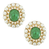Ciner Emerald Cabochon and Pearl Earrings | SOPHIESCLOSET.COM | Designer Jewelry & Accessories