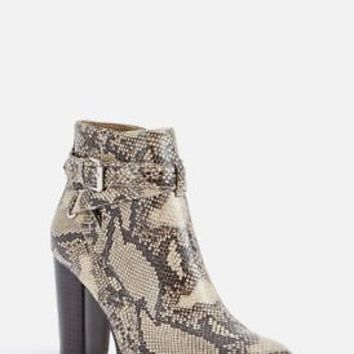 "JUSTFAB FAUX SUEDE OR FAUX  LEATHER BOOTIE 3.5"" CHUNKY HEEL ADJUST SIDE BUCKLE"