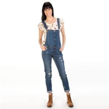 Love, Fire Juniors Ripped Skinny Jean Overalls at Dry Goods