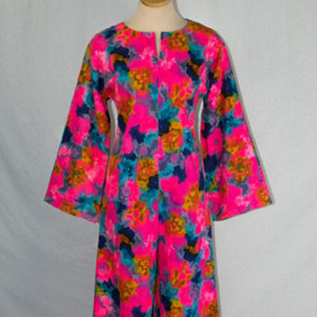 Vintage 70s Psychedelic Jumpsuit Wild Day Glow Print