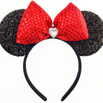 Sequin Minnie Mouse Ears Sequin Disney Ears Mickey Mouse Ears Headband Minnie Halloween Costume Minnie Mouse Bow Minnie Headband Mickey Ears