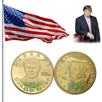 5pcs/lot 2016 US Republican Presidential New York Candidate Trump Gold plated Metal Craft Souvenir Coin