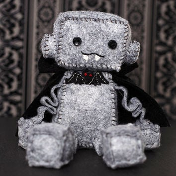 Vampire Plush Robot with Bat Bow Tie and Black Cape, Halloween Dracula
