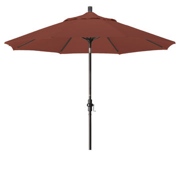 9 Foot Sunbrella 1A Fabric Aluminum Crank Lift Collar Tilt Patio Umbrella with Bronze Pole