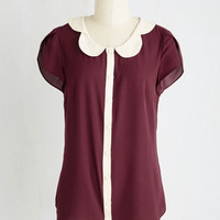 Fairytale Mid-length Short Sleeves Teacher's Petal Top in Burgundy