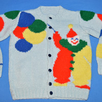 80s Clown with Balloons Hand Knit Cardigan Sweater 2T