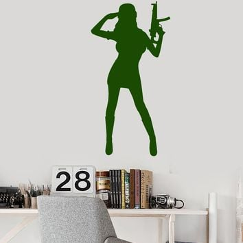 Vinyl Wall Decal Army Girl With Submachine Gun Weapon Soldier Woman Stickers Unique Gift (1989ig)