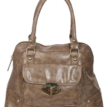 Alessa Front Pocket Faux Leather Tote Bag in Mink Brown