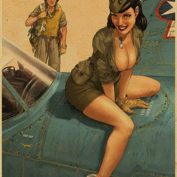Antique Sexy lady plane vintage Kraft Poster HD Bar/Pub/cafe Picture Wall art crafts posters wall art decor 42x30cm URC 3