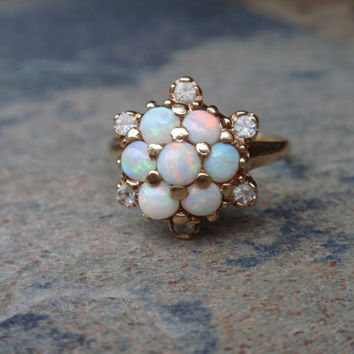 Opal Ring 10k yellow gold Vintage Engagement October birthstone cluster cocktail 7 stone