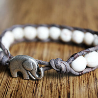 Elephant Bracelet, Leather Beaded Wrap Bracelet 1x, Elephant Jewelry, White Howlite, Good Luck Elephant