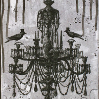 December SALE markdown,Halloween Goth Crows Raven Fancy Chandelier Mixed Media  8x10 stretched canvas Painting Folk Art by Posh Culture