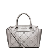 Selma Medium Quilted Micro Stud Satchel Bag, Pearl Gray - MICHAEL Michael Kors
