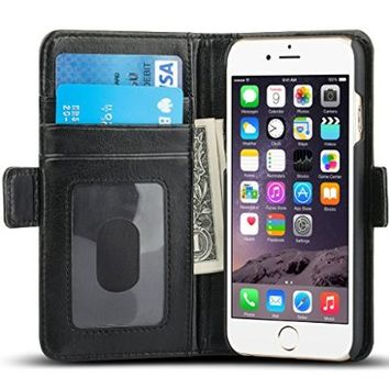 ACLUXS leather Wallet Case for iPhone 6/6s- Black
