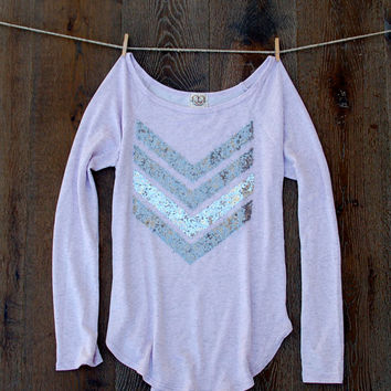 Sequin Chevron Slouchy French Terry Pullover in Heather Lilac - Lavender Off the Shoulder French Terry T Shirt