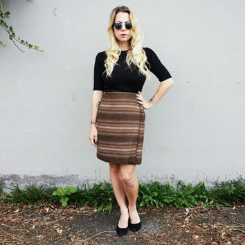 Wool Wrap Skirt in Autumn Brown Stripes