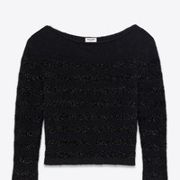 Crewneck Sweater in Black Mohair, Nylon and Wool