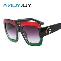 ANDYJOY Brand Design Women Luxury Sunglasses Square Frame Female Oversized Sun Glasses Vintage Green Red Eyewear New Oculos