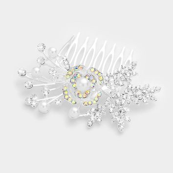 Crystal & Pearl Accent Rose Hair Comb