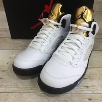 "Air Jordan 5 Retro ""Olympic"" (White / Gold)"