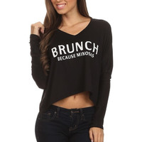 Brunch Because Mimosas Top - Black