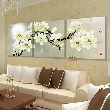 3 panel wall art hd print canvas prints cuadros decoracion flores cheap modern paintings modular triptych pictures for living