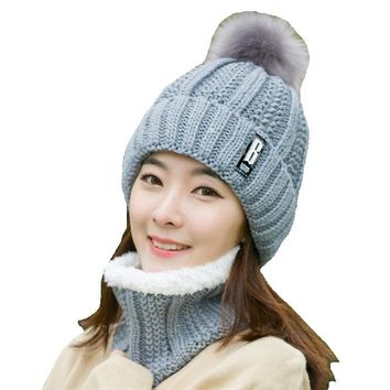 New Autumn Winter Plus Velvet Knitted Women Hat Scarf Set Lady Thick Warm Scarf Collar Pom Pom Ball Hat Crochet Beanies Caps