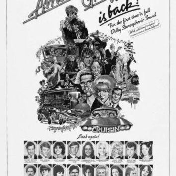 American Graffiti Poster Standup 4inx6in black and white