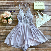 Date Night Romper in Lavender