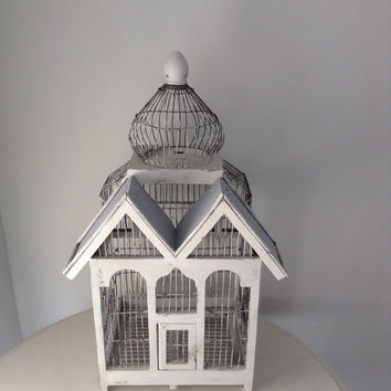 Large antique wood and wite hand painted bird cage home decor