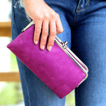 Pansy Purple Hobo Wallet