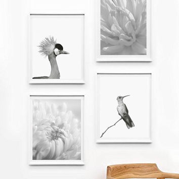 Art Poster Bird and Flower, Wall Decor Ideas, Unframed