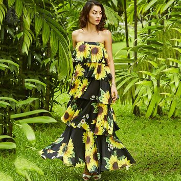 Elegant Sunflower Dress