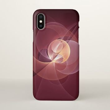 Movement Abstract Modern Wine Red Pink Fractal Art iPhone X Case