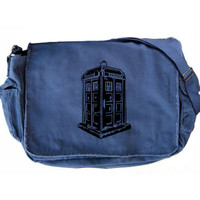 Doctor Who Large Messenger Bag Black and Blue