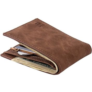 Fashion Casual Men Wallets PU Leather with Coin Bag Zipper Small Money Purses New Design Dollar Slim Purse Money Clip Wallet