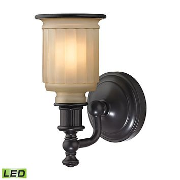 Acadia 1-Light Vanity Lamp in Oiled Bronze with Opal Reeded Pressed Glass - Includes LED Bulb