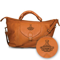 Pangea Tan Leather Top Zip Travel Bag - Stanley Cup Champions Boston Bruins