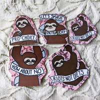 Feminist Sloth Sticker Set