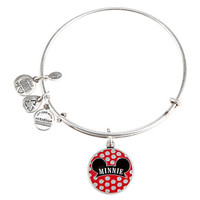 Disney Parks Minnie Ear Charm Bangle Bracelet Alex & Ani Silver New With Tags