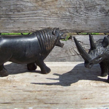 Vintage hand carved African safari animals, lion, rhino, mahogany, 1960s, tribal, jungle, nature, wildlife