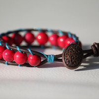 Ruby mineral beaded leather wrap bracelet with a beautiful button