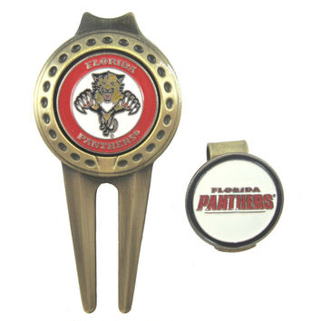 Florida Panthers Golfers Hat Clip & Divot Tool Combo with Golf Ball Markers